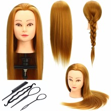 CAMMITEVER Gold Hair Mannequin Head Professional Training for Salon 50cm Heads with