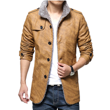 Winter Men's Leather Jackets 7XL 8XL Stand Collar Long Coats Men Windbreaker Fleece PU Leather Male Jacket SA375
