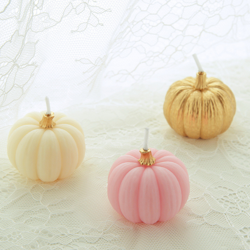 3pcs Set Pumpkin Birthday Cake Candle Wedding Engagement Decoration Hallowmas Home Handmade Scent Smokeless In Candles From Garden