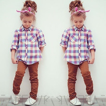 2016 Fashion Spring Autumn Baby Kids Little Girls Tops Long Sleeve Shirts Blouse 2 7Years Free