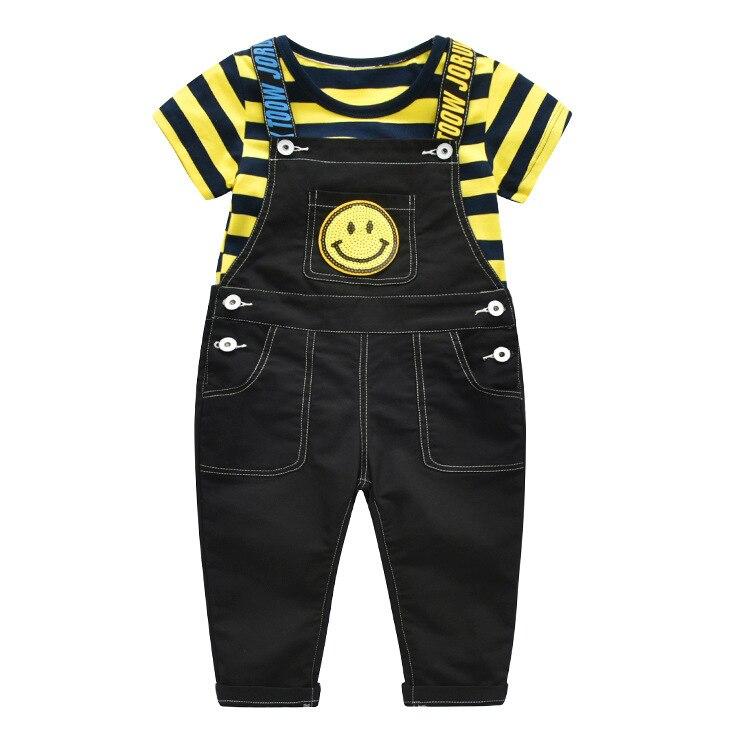 2018 Hot Sale Small Kids Cow Jeans Stripe Pants Yellow Short Sleeve T-Shirt boys clothes disfraces infantiles denim two pcs set
