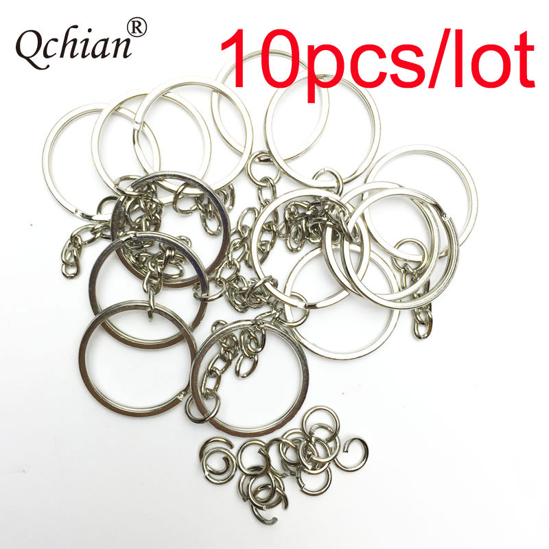 10 Pcs/Set Silvery Key Chains Stainless Alloy Circle DIY 25mm Keyrings Jewelry Keychain Key Ring