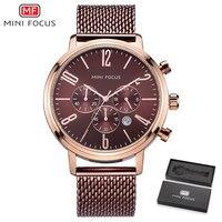 MINI FOCUS Men Watches Top Brand Luxury Quartz Watch Ultra Thin Rose Golden Mesh Strap 3