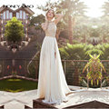 Honey Qiao Wedding Dresses 2017 Chiffon Lace Applique Halter With Sheer Neck Backless Beaded Court Train Side Split Bridal Gowns
