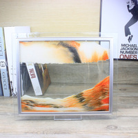 A Black And Yellow And Orange Glass Yiwu Creative Art Gift 3D Landscape Painting Hourglass Sand