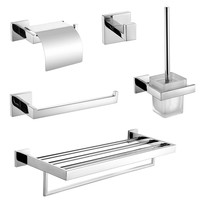 2017 Wholesale 304 SUS Stainless Steel Bathroom Hardware Set Robe Hook Towel Bar Ring Towel Rails Toilet Paper Holder