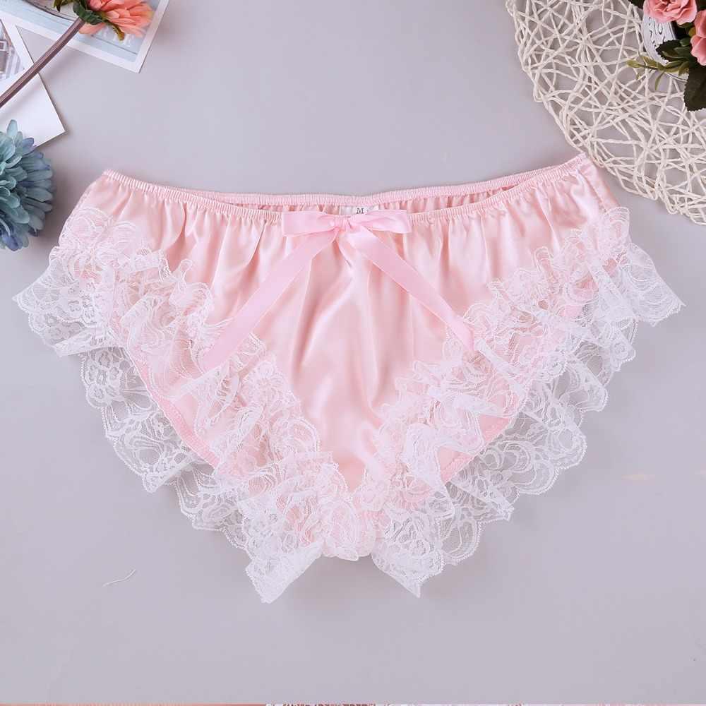 b9120c799 Detail Feedback Questions about Smooth Lace Underwear for Men Sexy  Underpants Male Gay Bikini Low Rise Panties Soft Lingerie Sissy Bright  Briefs Lady Boy ...