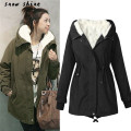snowshine  #3001   Ladies Hooded Parka Fleece Top Size M-XXXXXL Winter Warm Womens Long Jacket Coat free shipping