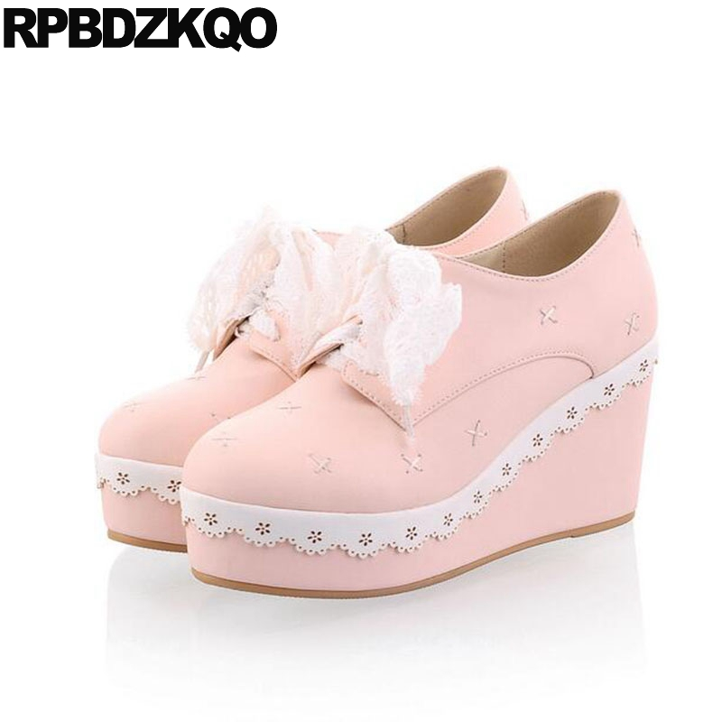 Lace 11 43 High Heels Round Toe Creepers Pink Women Pumps Size 4 34 Platform Shoes Fashion 2017 Lolita 10 42 Big Korean Wedge morazora plus size 34 42 wedges shoes med heels 4 5cm round toe single shoes fashion lace up women pumps platform