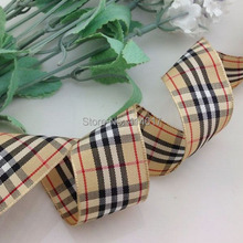 Upick 1 25mm Coffee Tartan Plaid Ribbon Bows Appliques Sewing Crafts 10Y