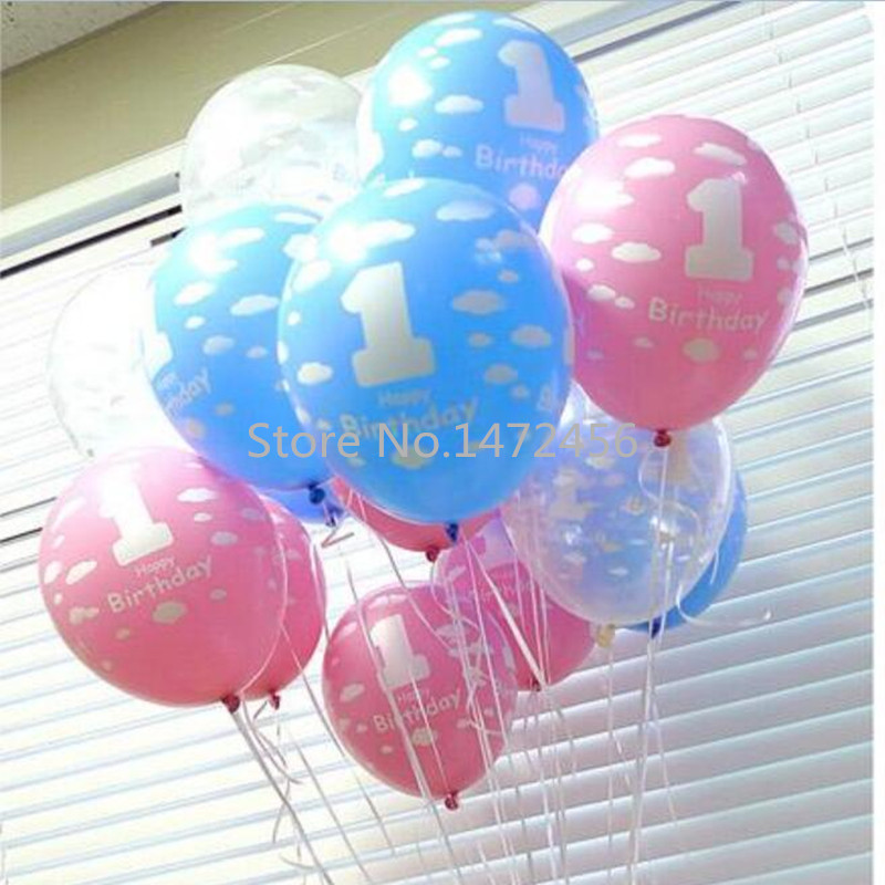 30 pcs/lot 12inch cloud printing pearl balloon 1st birthday balloon pink/blue la