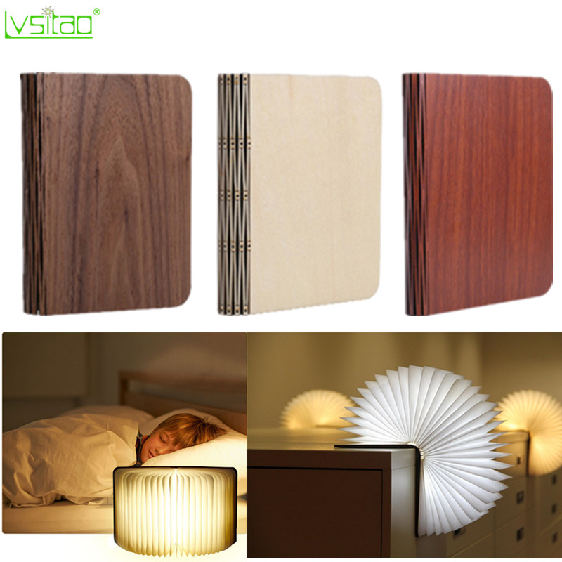 Led Book Lights Portable USB Recharge Magnetic Foldable Wooden Night Light Reading Desk Lamps Creative Home Decor Novelty Gifts