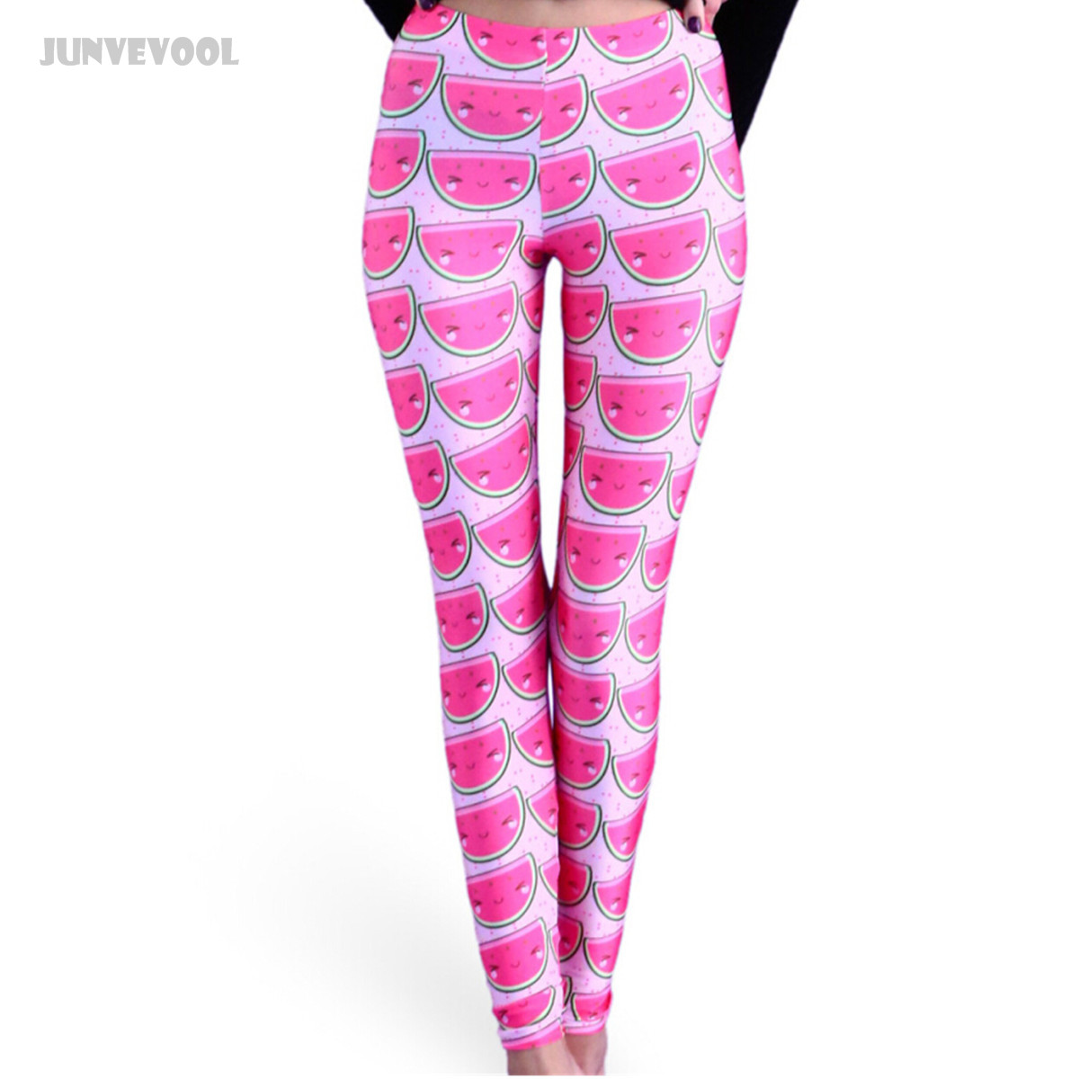 Workout Slim Hot Pink Watermelon Printed Leggings Womens Tattoo Leg Pants Ankle Length Trousers Fashion Candy Color Pants Red
