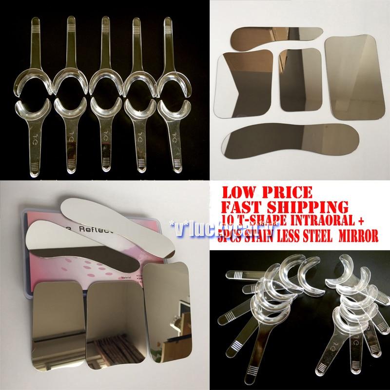5pcs Dental Clinic Stainless Steel Photographic Mirror + 10PCS T Shape Intraoral Cheek Lip Retractor Opener