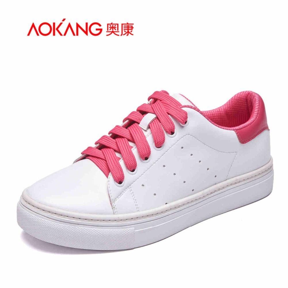 ФОТО AOKANG 2017 New Arrival women shoes women flats genuine leather women casual shoes lace-up high quality free shipping