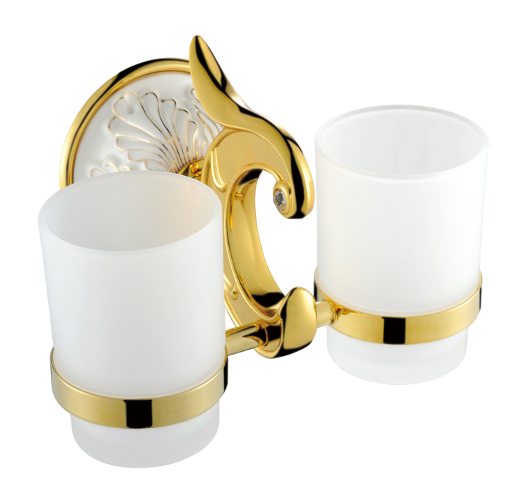 Free Shipping Brass gold white Double tumbler cup holder toothbrush holder sanitary ware bathroom furniture toilet PH004 free shipping brass gold double tumbler holder cup