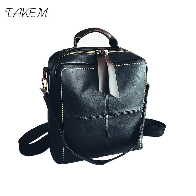 TAKEM 2018 NEW Woman girls shoulder bag fashion simple candy color backpack travel shopping college bag PU leather