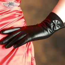 Wrist Bowknot Women Genuine Leather Gloves Top Quality Goatskin Winter Sheepskin Female Driving 903