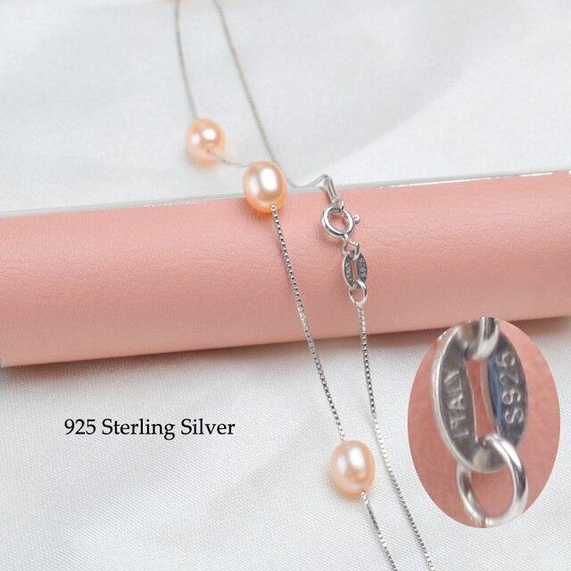 ASHIQI 925 sterling silver collana della catena del pendente collana di perle d'acqua dolce delle donne 6-7mm Perla merci di Qualità dei monili