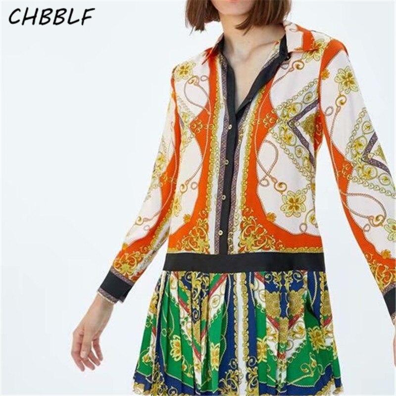 CHBBLF Stylish Print Patchwork Pleated Dress Long Sleeve Turn Down Collar Female Casual Dresses Vestidos DFP8476