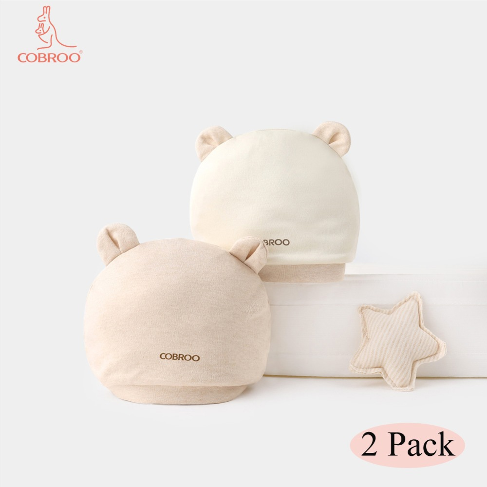 COBROO 100/% Cotton Baby Beanie Hats 2 Pack Solid Color with Cute Bear Ears Baby Knit Caps 0-6 Months