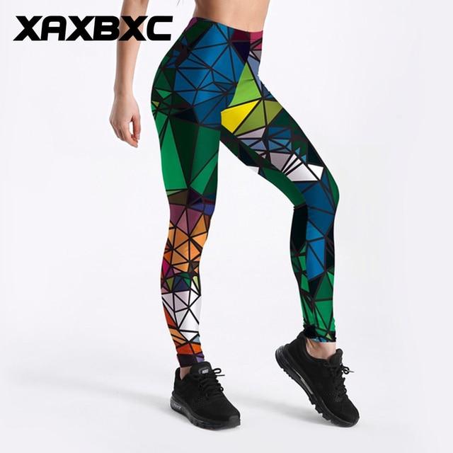 Gekleurde Sportlegging.C3834 Girl Colored Diamond Triangle Prints Elastic Slim Gym Fitness