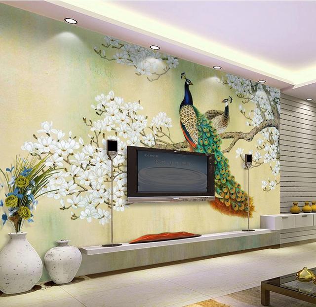 Custom 3d Photo Wall Paper 3d Stylish Minimalist Modern 3d Mural Large Beautiful Peacock 3d Wallpaper