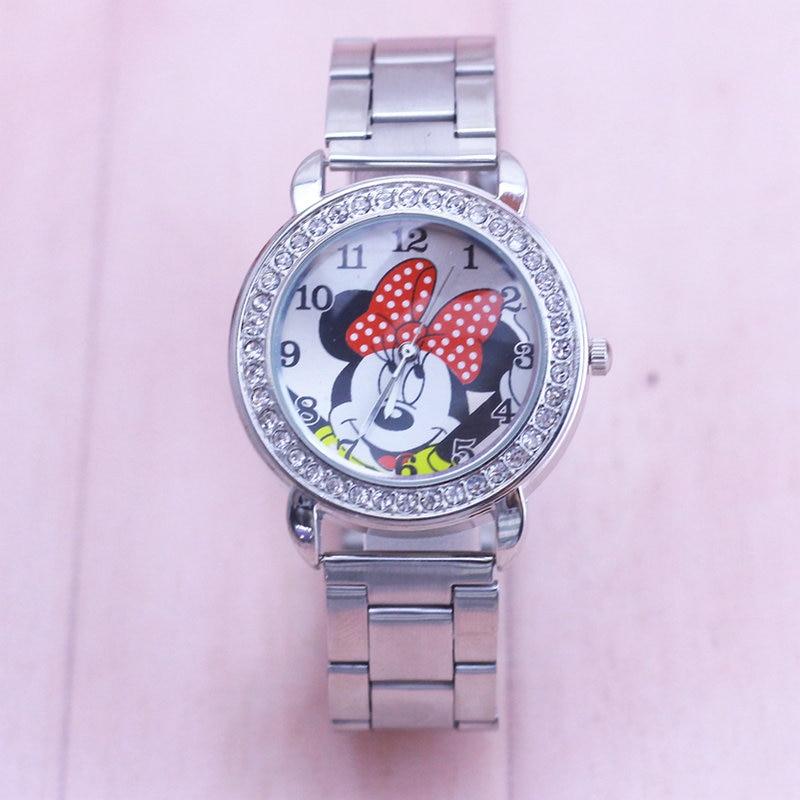2018 Minnie Watch Men Stainless Steel Women Watches Cartoon Mouse Clock Sports Quartz Wristwatches
