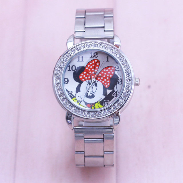 2018 Minnie Watch Men Stainless Steel Women Watches Cartoon Mouse Clock Sports Q