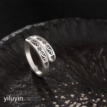 Fine retro fishes ring s990 sterling silver open ring
