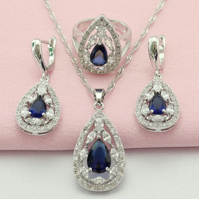 ASHLEY Blue Created Sapphire Jewelry Sets For Women Silver Plated Necklace Pendant Earrings Rings for Women  Free Gift Box