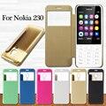 Para coque cajas del teléfono nokia 230 cepillado pu cuero ver windows phone case cubierta para nokia 230 capa bolsa de shell cubierta
