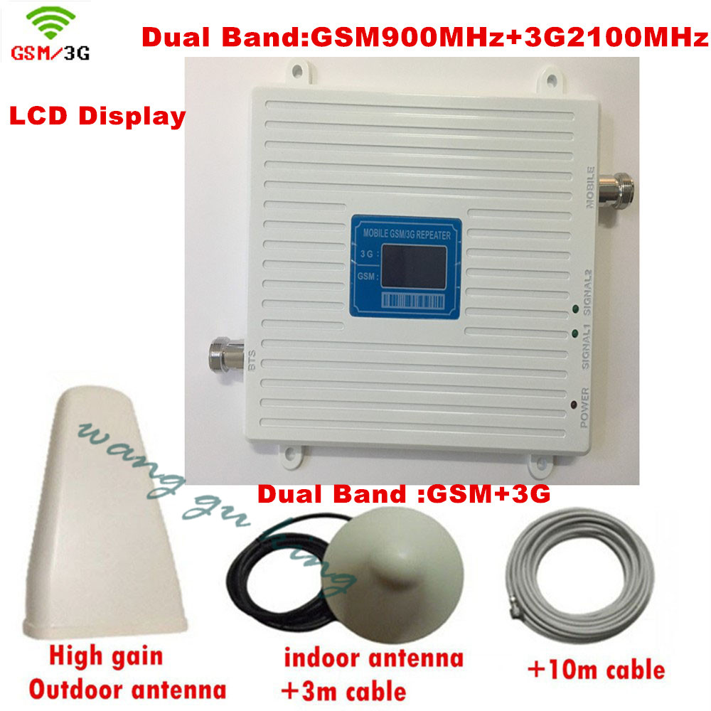 LCD Display ! Dual Band GSM 3G Mobile Signal Repeater GSM 900 UMTS Repetidor Antenna 3G 2100 Cell Phone Signal Booster Amplifier
