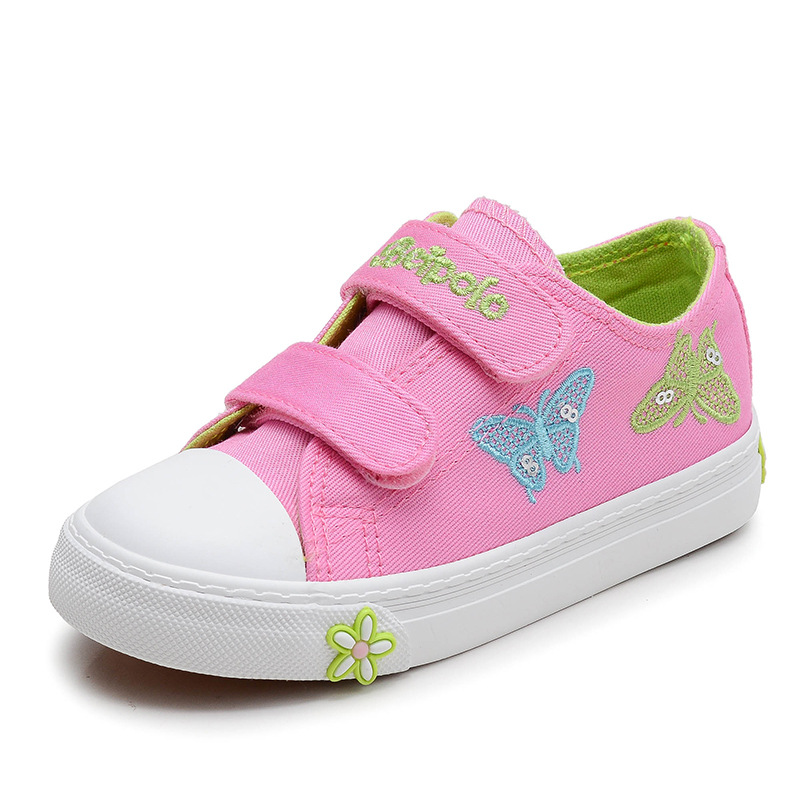 New 2018 Children Kids Girls Embroidery Butterfly Canvas Shoes Sneakers For Girls Teens Student Denim Slip On Causal Shoes 41