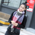New Winter Women Warm Acrylic Scarves High Quality Blanket Soft Plaid Shawl Fashion Tassels Long Scarf for Ladies free shipping