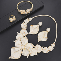 missvikki Fashion Bridal Accessories Brand Dubai Nigerian Wedding Jewelry sets Bangle Earrings Necklace Ring Big Flower Petals