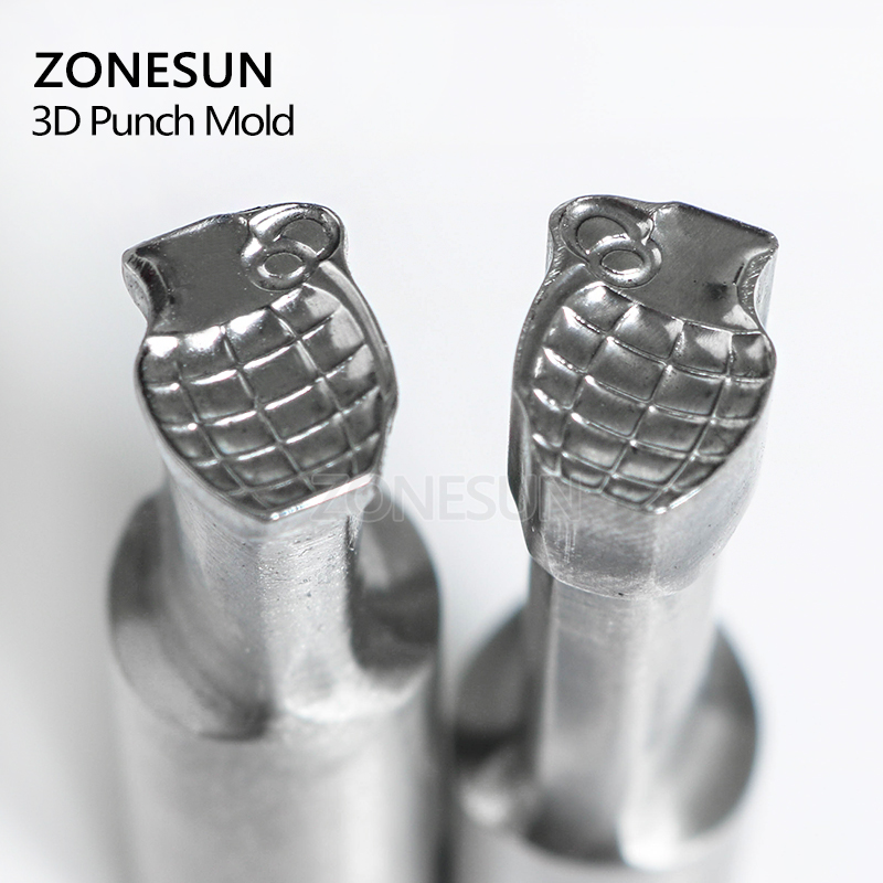 ZONESUN Bomb Logo Tablet Candy Press 3D Punch Mold Milk Punching Custom Logo For Punch Stamp Die Mould TDP 1.5/5 Machine mould logo custom services 12 cavities english character simple pattern brand identity