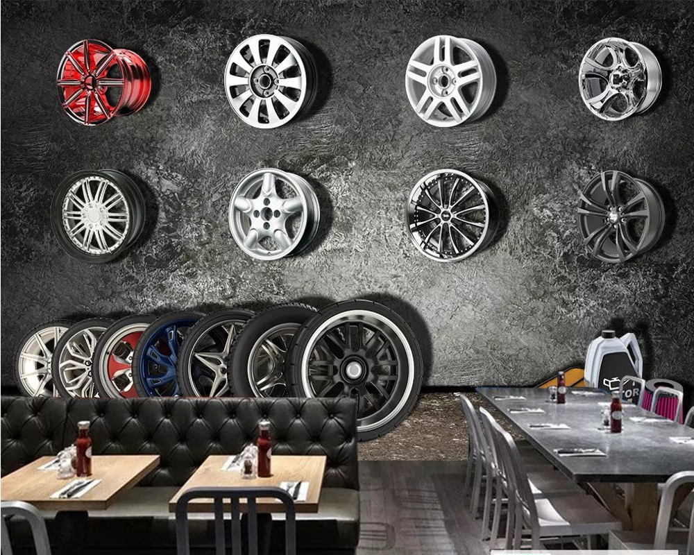 Free Shipping Custom Wallpaper Mural Retro Vintage Car Tire TV Background Wall Mural Painting Restaurant Hotel Wallpaper Deco custom modern 3d decoration wallpaper fashion stereoscopic background wall mural vintage cafe bar hotel background wallpaper