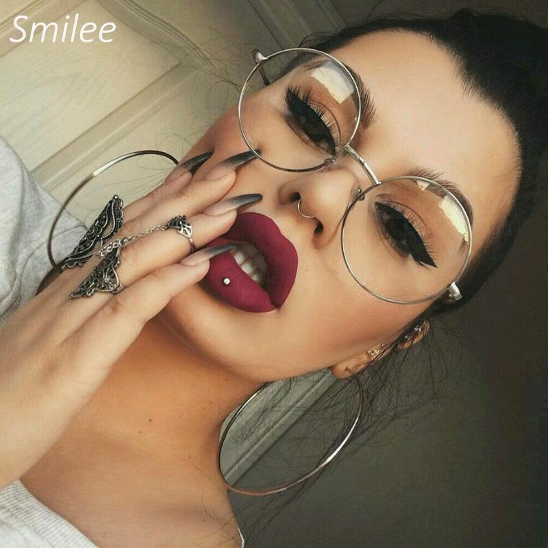 Şeffaf yuvarlak gözlük Kadınlar Optik Çerçeve Gözlük gözlük Retro Miyopi Nerd Daire Gözlük Erkekler metal gözlük Çerçevesi