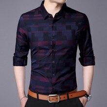 Мужская рубашка для мужчин повседневные рубашки для работы Новое поступление Мужская известная брендовая одежда Клетчатая Мужская рубашка с длинными рукавами