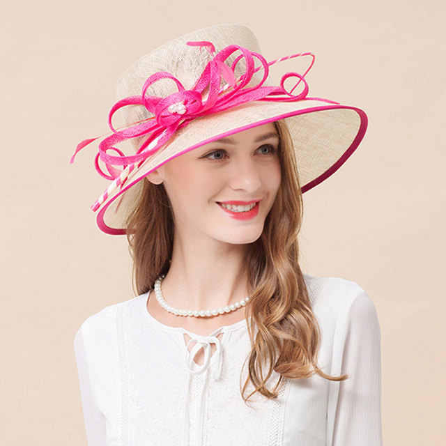 6abf164be0f5f New Elegant Linen Bridal Hat Sombrero For Women Church Wedding Party Hat Outdoor  Chapeu Cappelli Retro British Large Brimmed Hat