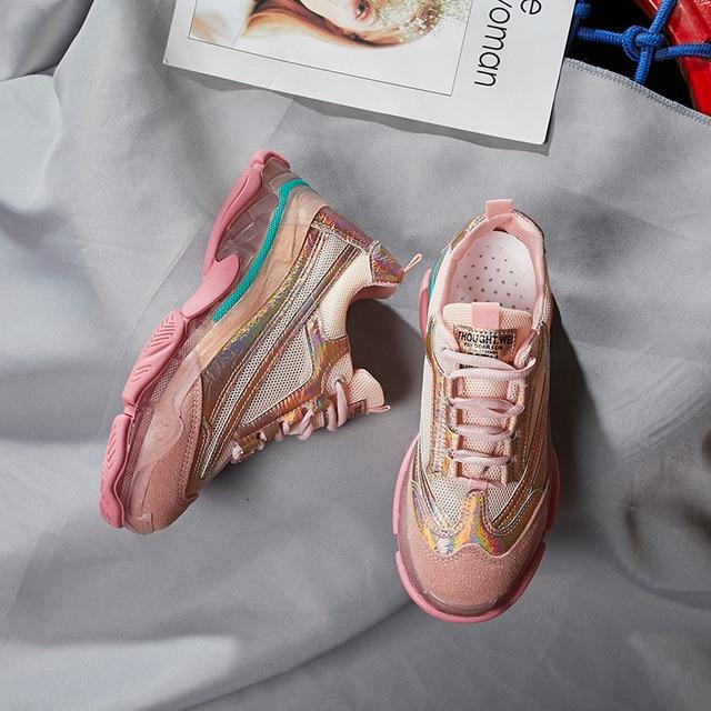 CAMTOO New Mesh Women Sneakers Fashion Transparent Sole Ladies Casual Shoes Harajuku Dad Shoes Flats Platform Walking Footwear 2