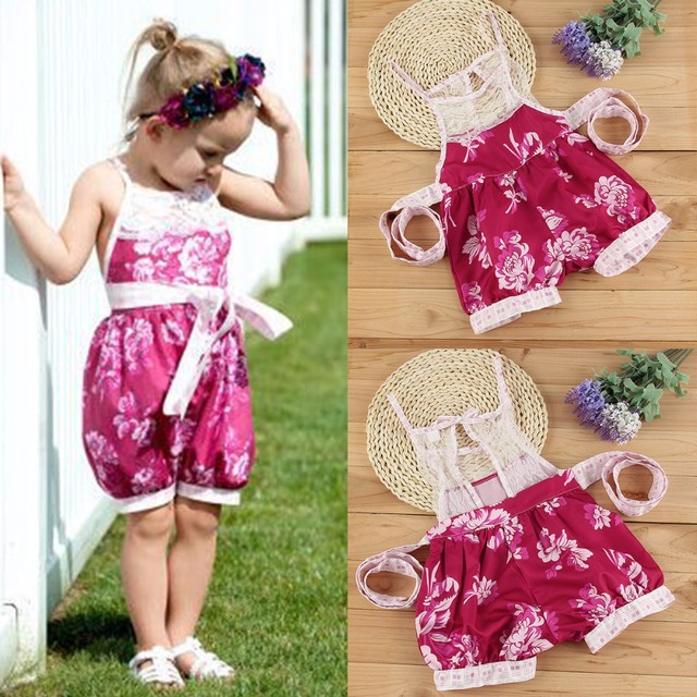 a0d29c225f51 Puseky New Summer Baby Girls Clothing Jumpsuits Rompers Princess Party Lace Floral  Romper Playsuit Jumpsuit Girl Clothes 0-24M