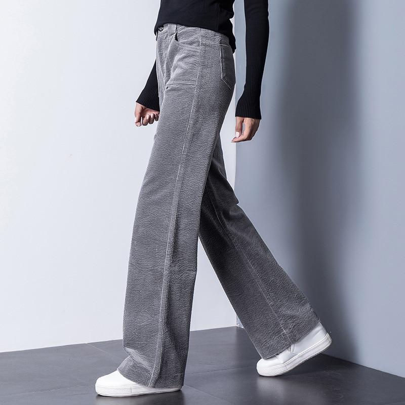 Et Velours Noir G7132 Occasionnels Taille Mince bourgogne Acrmrac Automne Pantalon gris Femmes Haute Solide Couleur Jambe Lâche Hiver Large 8fHqIgHx
