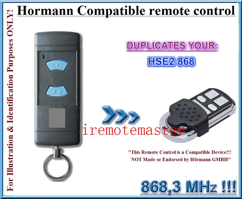 HORMANN (Blue buttons compatible) HSE2 868Mhz Garage Door/Gate Remote Control Replacement free shipping faac xt2 xt4 868 slh replacement garage door remote control 868mhz fres shipping