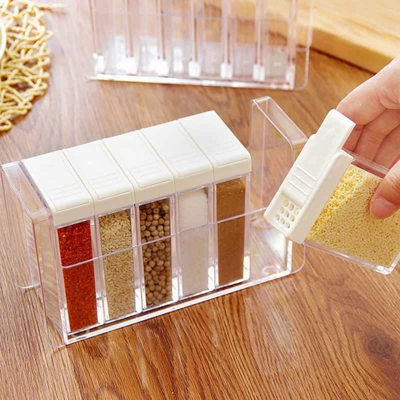 IVYSHION Spice Seasoning Box Kitchen Storage Bottle Jar For Spice Kitchen Organizer Transparent Salt And Pepper Cumin Powder Box