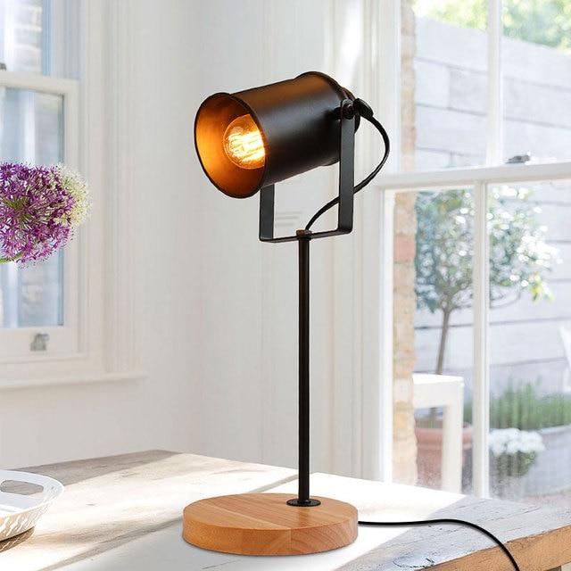 Industrial Desk Lamp Wood Base