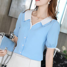New 2019 Women Spring Summer Blouse Chiffon Slim Shirt Korean Style Fashion Casual Lace Shirts Womens Tops Short Sleeve Blouses(China)