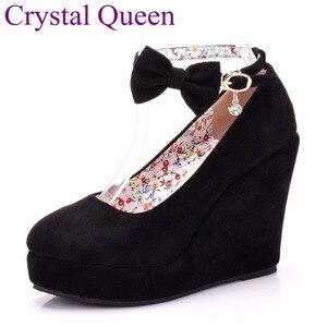 Image 1 - Nero rosso Elegante cunei dei pattini dei cunei sandali per le donne della piattaforma degli alti talloni punta rotonda scarpe tacchi alti bowknot zeppe scarpe