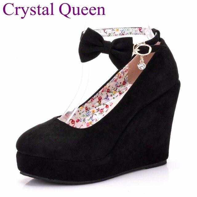 Nero rosso Elegante cunei dei pattini dei cunei sandali per le donne della piattaforma degli alti talloni punta rotonda scarpe tacchi alti bowknot zeppe scarpe